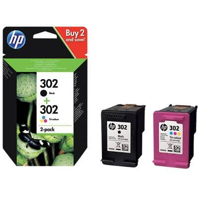 HP 302 Original Ink Cartridge X4D37AE Black, Cyan, Magenta, Yellow Pack of 2