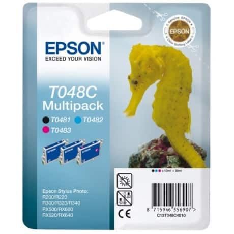Epson T048C Original Ink Cartridge C13T048C4010 Black & 2 Colours 3 pieces
