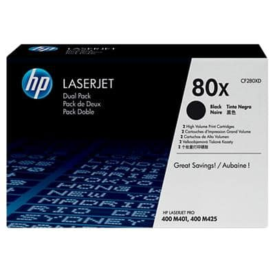 HP 80X Original Toner Cartridge CF280XD Black 2 Pieces