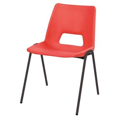 Advanced Poly Classroom Stacking Chair Red Shell Black Frame 260 mm Height Pack Of 4