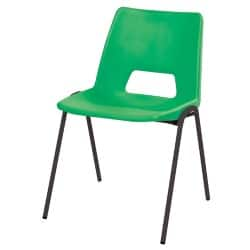 Advanced Poly Classroom Stacking Chair Green Shell Black Frame 350 mm Height Pack Of 4