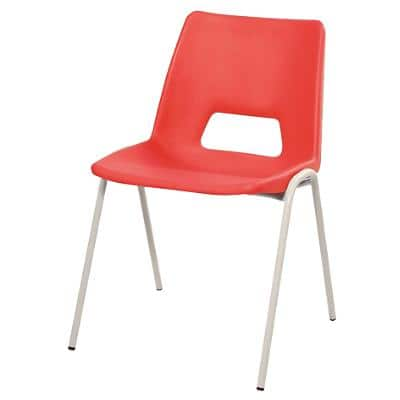 Advanced Furniture Stacking Chair Harmony Red Shell Grey Frame 380mm Height Pack of 4