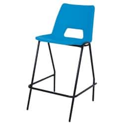 4 x Advanced Heavy Duty Industrial Stool with backrest Blue Shell Black Frame 610 mm Height