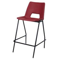 4 x Advanced Heavy Duty Industrial Stool with backrest Red Shell Black Frame 610 mm Height