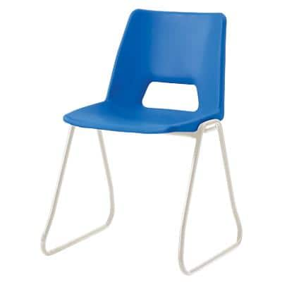 Advanced Furniture Stacking Chair Skid Base Blue Shell Grey Frame 430mm Height Pack of 4