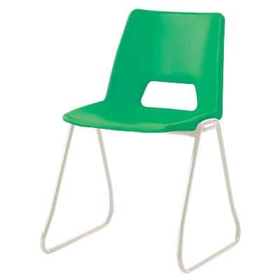 Advanced Furniture Stacking Chair Skid Base Green Shell Grey Frame 430mm Height Pack of 4