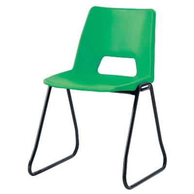 Advanced Furniture Stacking Chair Skid Base Green Shell Black Frame 460mm Height Pack of 4