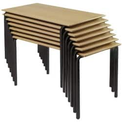 4 X Rectangular Stacking Crushbend Tables Beech Top Black Frame 1200 x 660 x 760 mm