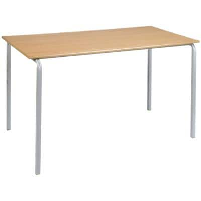 Proform Rectangular Table with Beech Coloured MFC Top and Grey Frame Crushbend 1100 x 550 x 760mm Pack of 4