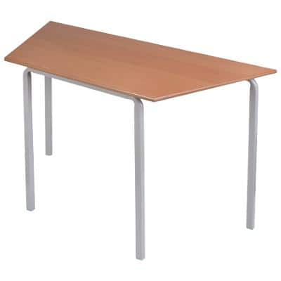 Proform Trapezoidal Table with Beech Coloured MFC Top and Grey Frame Crushbend 1100 x 550 x 460mm Pack of 4
