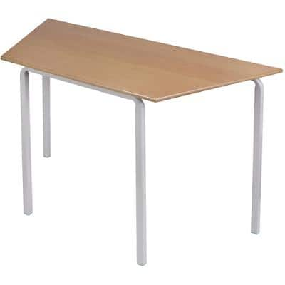 Proform Trapezoidal Table with Beech Coloured MFC Top and Grey Frame Crushbend 1100 x 550 x 590mm Pack of 4