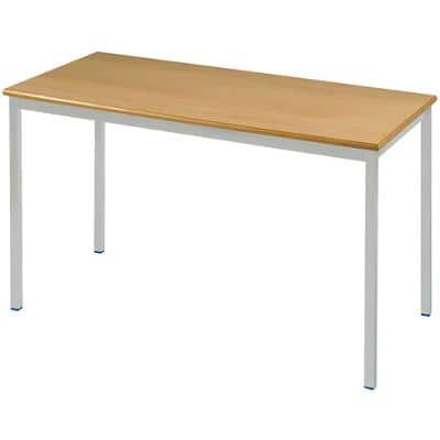 Proform Rectangular Table with Beech Coloured MFC Top and Grey Frame 1100 x 550 x 530 mm 4 Pieces