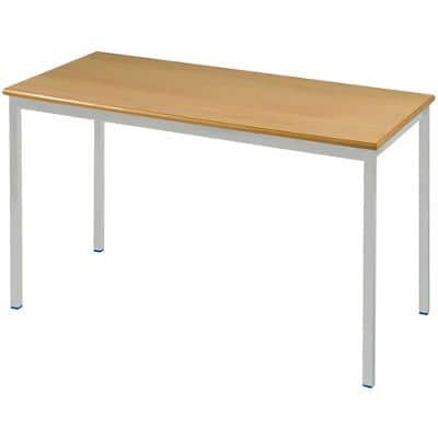Proform Rectangular Table with Beech Coloured MFC Top and Grey Frame 1200 x 600 x 760mm 4 Pieces