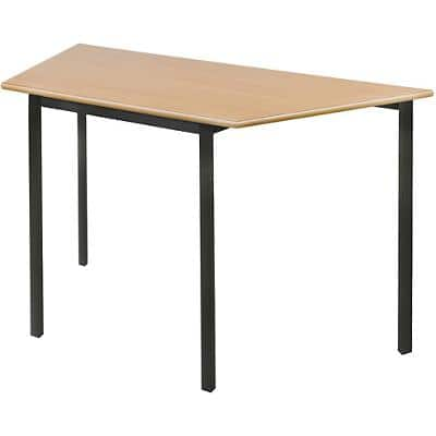 Proform Trapezoidal Fully Welded Table with Beech Coloured MFC Top and Black Frame Crushbend 1100 x 550 x 710mm Pack of 4