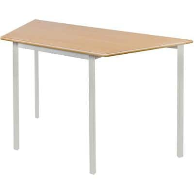 Proform Trapezoidal Fully Welded Table with Beech Coloured MFC Top and Grey Frame Crushbend 1100 x 550 x 760mm Pack of 4