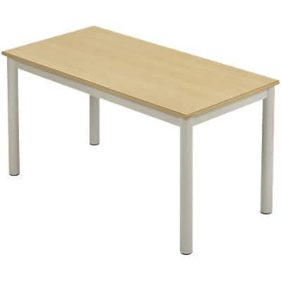 Proform Rectangular Table with Beech Coloured MFC Top and Silver Frame 1200 x 600 x 760mm Pack of 4