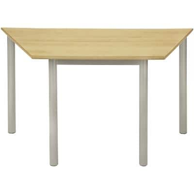 Proform Trapezoidal Table with Beech Coloured MFC Top and Silver Frame 1200 x 600 x 640mm Pack of 4