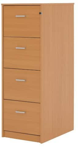 Classic Four Drawer Filing Cabinet Beech Effect X 2