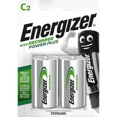 Energizer C Rechargeable Batteries Power Plus HR14 2500mAh NiMH 1.2V Pack of 2
