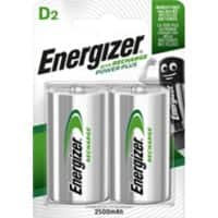 Energizer D Rechargeable Batteries Power Plus HR20 2500mAh NiMH 1.2V Pack of 2