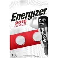 Energizer Button Cell Batteries CR2016 3V Lithium 2 Pieces