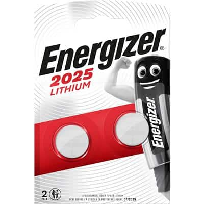 Energizer Button Cell Batteries CR2025 3V Lithium Pack of 2
