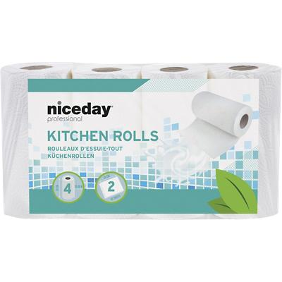Niceday Professional Kitchen Rolls Standard 2 Ply 42 Sheets Pack of 4