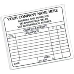Personalised Cash Sales Receipts Book 1 Part 102 x 148 mm 100 Sheets Per Pad