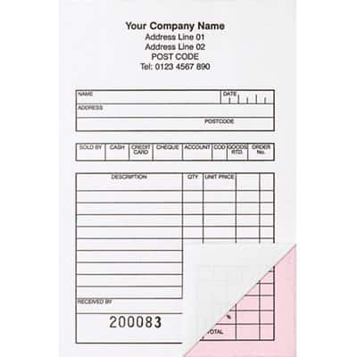 Personalised Sales Book 3 Part 98 x 152 mm Pack of 50