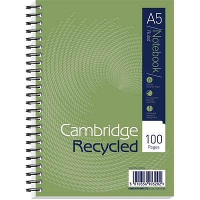 Cambridge A5 Wirebound Green Hardback Notebook Green Ruled Recycled 100 Pages Pack of 5