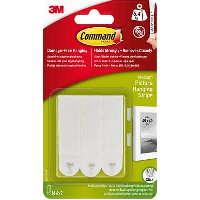Command™ Medium Picture Mounting Strip 5.4 kg Holding Capactiy White Pack of 4