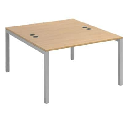 Dams International Rectangular Starter Unit Back to Back Desk with Oak Coloured Melamine Top and Silver Frame 4 Legs Connex 1200 x 1600 x 725mm
