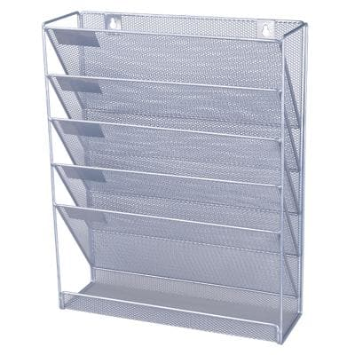Office Depot Literature Display A4 Silver Wire Mesh 32.5 x 10.5 x 40.5 cm