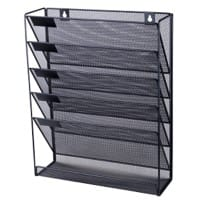Office Depot Literature Display with 5 Compartments A4 Black Mesh, Wire 32.5 x 10.5 x 40.5 cm