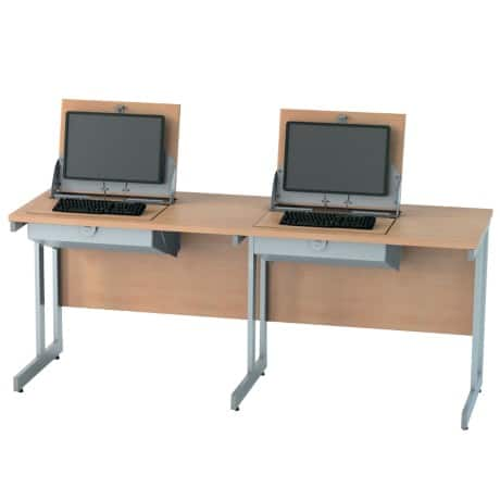 SmartTop ICT 1800 mm wide double unit workstation (left monitor position) – beech effect