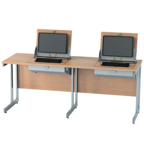 SmartTop ICT 1800 mm wide double unit workstation (right monitor position) – beech effect