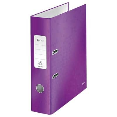 Leitz 180° WOW Lever Arch File 80 mm Laminated Cardboard A4 Purple