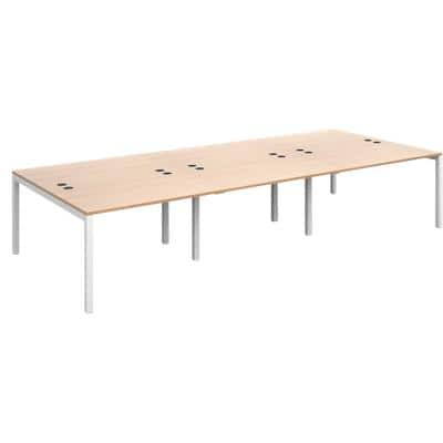 Dams International Rectangular Triple Back to Back Desk with Beech Coloured Melamine Top and White Frame 4 Legs Connex 3600 x 1600 x 725mm