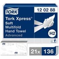 Tork Folded Hand Towels H2 Xpress Advanced 2 Ply M-fold White 136 Sheets Pack of 21