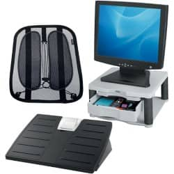 Ergonomic Awareness Bundle featuring back support, foot rest and monitor riser