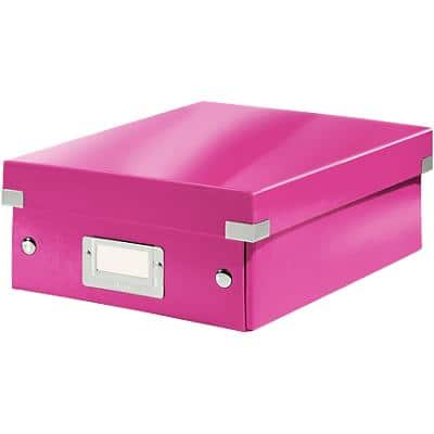 Leitz Click & Store WOW Small Organiser Box Laminated Cardboard Pink 220 x 282 x 100 mm