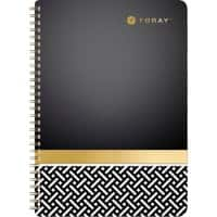 Foray Elements A4 Wirebound Black, Gold Foiled Card Cover Notebook Ruled 160 Pages