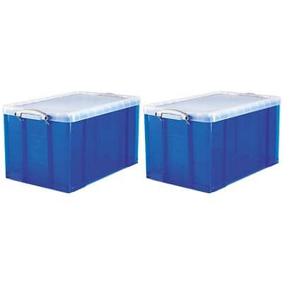 Really Useful Box Plastic Storage 84 Litre Blue 440 x 710 x 380 mm Pack of 2