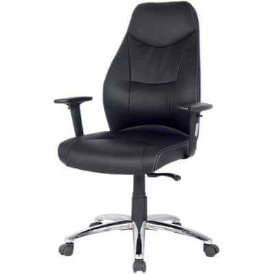 Realspace Synchro Tilt Office Chair with 2D Armrest and Adjustable Seat Brent Bonded Leather Black