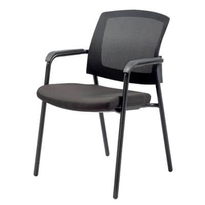 Realspace Stacking Chair Sutton Mesh, Fabric Black