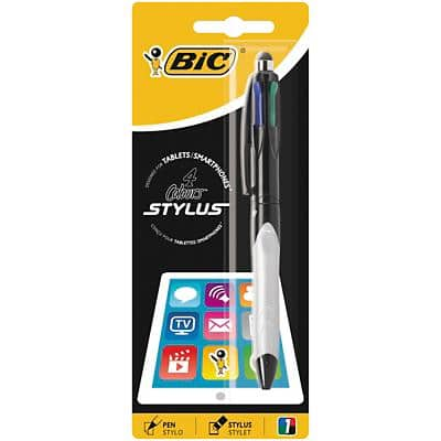 BIC 4-Colours Stylus Retractable Ballpoint Pen Medium 0.4 mm