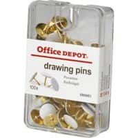 Office Depot Drawing Pins White 10.5mm Pack of 100