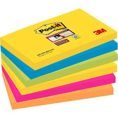 Post-it Super Sticky Notes 76 x 127 mm Rio 6 Pads of 90 Sheets