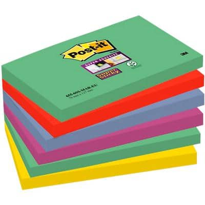 Post-it Super Sticky Notes 127 x 76 mm Marrakesh Assorted Colours 6 Pads of 90 Sheets