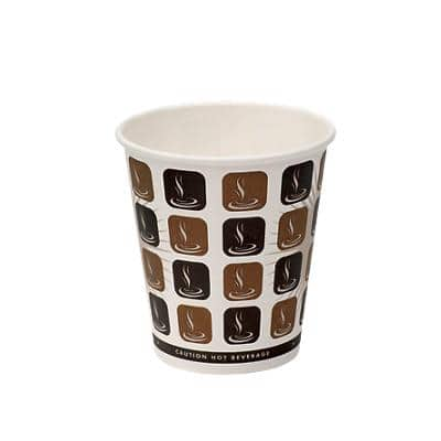 SEM Disposable Cups Paper 300ml Brown & White Pack of 50